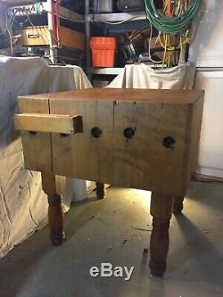 Wood Welded Butcher Block Table LOCAL PICK UP ONLY