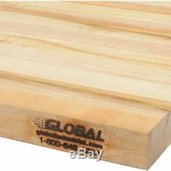 Workbench Top Maple Butcher Block Safety Edge, 60 W x 30 D x 1-3/4 Thick