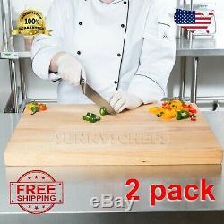 2 Pack 24 X 18 X 1 3/4 Bois Commerce Restaurant Planche À Découper Butcher Block