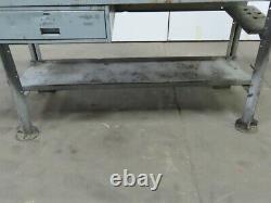 28dx60wx34h Butcherblock Wood/steel Top Work Bench Table Vintage Withdrawer