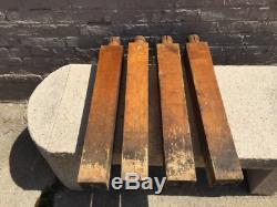 4 Antique Painted Butcher Block Table Jambes De La Collection De Fellenz