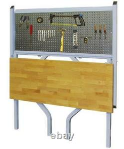 47 Silver Steel Wall Mounted Collapsible Work Bench Butcher Block Pegboard Nouveau