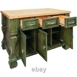 53 X 33,5 Aqua Green Wood Kitchen Island Cabinet Antique Meubles Ferme