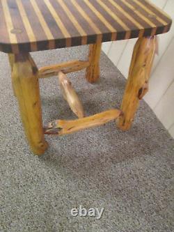 58570 Rustique Primitve Log Twig Butcher Block Kitchen Table Garden Stand