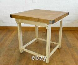 Ancien Petit Déjeuner Bar Cuisine Table Travail Artisanat Table Bouchers Bloc