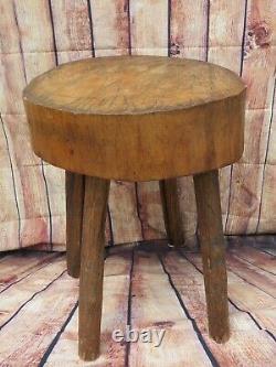 Antique 19ème C. Farmous De Table De Block De Boucherie Primitive Française