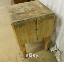 Antique Bally Bois Butcher Block Table De Cuisine Pieds En Bois Flat Top Viande Stand