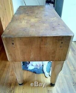 Antique Butcher Block Table Great Condition