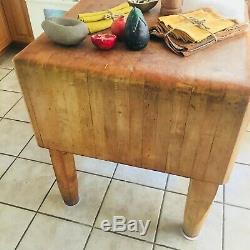 Antique Originale Bally Butcher Block Kitchen Island Coupe Stand Surface
