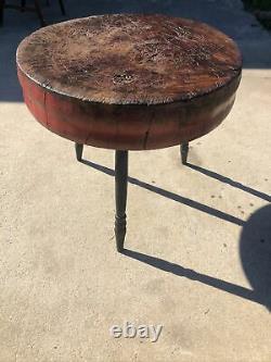 Antique Primitive Table Ronde / Butcher Block General Store