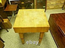 Antique Solid Butcher Block Heavy Vtg Viande Cuisine Bois Table Vintage Commercial