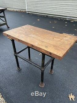 Antique Workbench, Butcher Block, Vise, Îlot De Cuisine, Bureau, Table, Rédaction