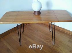 Au Milieu Du Siècle Moderne Table Basse Ou Table D'appoint Dropleaf Boucher Bloc Jambe En Épingle À Cheveux