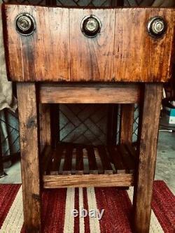Authentique Vintage 1930's Era Butcher Block Table