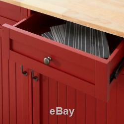 Bainport Chili Red Wood Kitchen Island Avec Bloc Butcher Naturel Top 44,25 En
