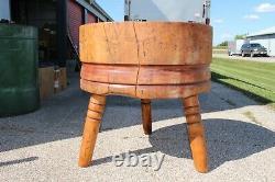 Bâton De Boucher En Bois D'antique 1800 Table 1 Pièce Cerise Solide Top Nice