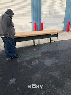 Belle Énorme Industrielle Butcher Block Haut Banc De Travail Table De Cuisine Île