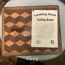 Black Nout Butcher Block Cutting Board New End Grain 14x12 Tumbling Block
