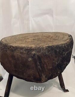 Bloc Antique De Boucher Coupant Le Bloc De Coupe Pour La Souche D'arbre De Volaille C. 1865