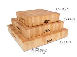 Bloc De Boucher John Boos Maple End Grain, 12 X 12 X 3 Pouces Nouveau