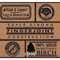 Bloc De Boucherie En Bois Massif Countertop 50 X 25 X 1,5 Panneau De Coupe Birch Non Fini