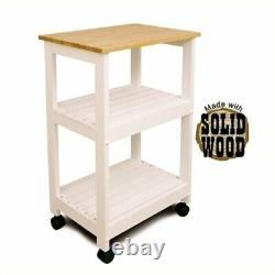Bowery Hill Microwave Utility Butcher Block Kitchen Cart In White