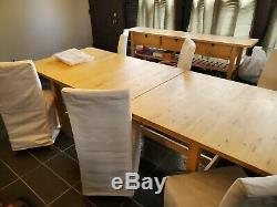 Butcher Block Chau Set De Table Avec Des Chaises Et Hutch Ikea Henriksdal Feuilles