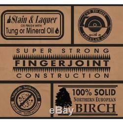 Butcher Block Comptoir 4 Ft. 2 In. L X 2 Ft. 1. D X 1.5. T Lisse Birch
