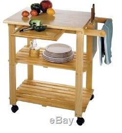 Butcher Block Island Cart Table Rack Cuisine Etagère Planche À Découper Etagère À Rouler A