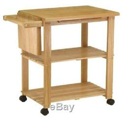 Butcher Block Island Cart Table Rack Cuisine Plateau Etagère Support Roulant Utilitaire