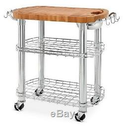 Butcher Block Kitchen Island - Chariot À Roulettes 2 Tablettes En Acier Chromé 30 X 20