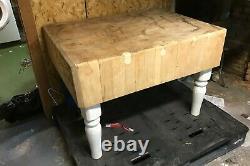 Butcher Block Table De Préparation Grande 40x30 En Très Bon État Antique