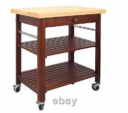Catskill Craftsmen Roll About Cart Kitchen Island Natural Wood Table Top Storage
