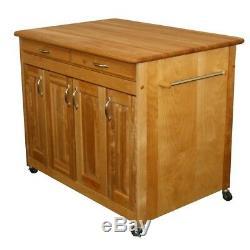 Chariot De Cuisine Avec Tiroir Étagères Réglables Rangement Butcher Block Top Solid Wood