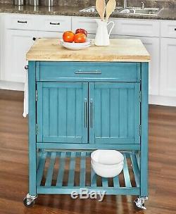 Chariot De Cuisine Sur Roulettes Wood Butcher Block, Bleu Sarcelle