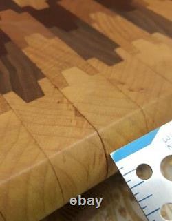 Cherry Wood MIX End Grain Butcher Block Cutting Board With Feet 14x 12 (a2)