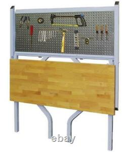 Collapsible Wall Mount Work Bench Fold Down Pegboard Butcher Block Poste De Travail