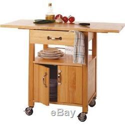 Cuisine Four À Micro-panier Abattants Stockage Organisateur Utility Rolling Wood Cabinet