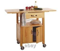 Drop Leaf Kitchen Cart Utility Butcher Block Island Rolling Storage Wood Cabinet