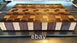 End Grain Cutting Board, Butcher Block Style, Fait Avec Des Bois Feuillus, Aileron Sans Danger Pour Les Aliments