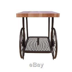 Fin Industriel Bois Métal Table Antique Style Roue Panier Butcher Block Top Shelf