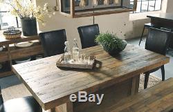 Grande Table De Salle À Manger Rustique En Bois Récupéré, Cuisine En Blocs De Boucher En Détresse Brune