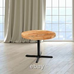 Haut De La Table De Style De Bloc De Boucher Rond