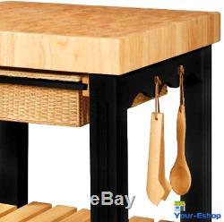 Îlot De Cuisine Carré Avec Accessoires De Table De Dessus De Table De Boucher De Stockage Meubles