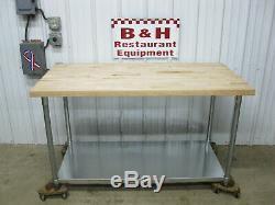 John Boos - Table De Boulangerie Avec Plateau En Érable 60 X 30, Bloc De Boucher, 5 Pi X 2 Pi 6