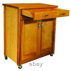 Kitchen Cart Boucher Block Top Locking Caster Hardwood Finition Huilée Naturelle