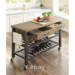 Kitchen Cart Island Table Boucher Mobile Block Tv Stand Wine Storage Modern Rack