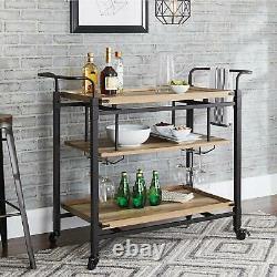 Kitchen Cart Island Table Butcher Block Bar Servant Mobile Storage Wine Rack