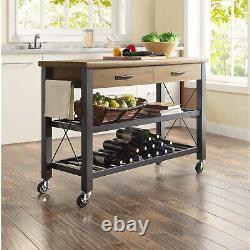 Kitchen Cart Island Table Butcher Block Tv Stand Mobile Storage Wine Rack Moderne