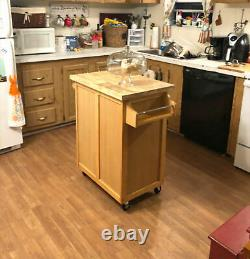 Kitchen Cart Mobile Island Solid Top Cutting Board Wood Butcher Block Roues Nouveau